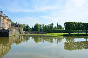 La Ferte Saint Aubin, France, 05-28-2017 castle ensemble bridge and garden view