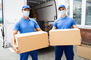 Fotobehang Graffiti collage Blue Delivery Men Unloading Package From Truck