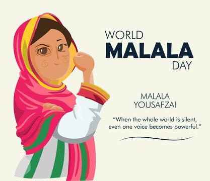 World Malala Day, Malala Yousafzai quote, illustration vector