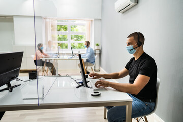 Call Center Customer Service Agents Wearing Masks