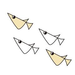 シンプルな線画の4匹の小魚