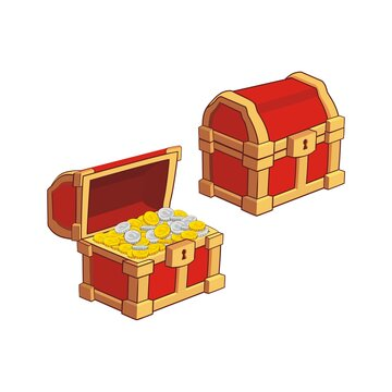 Wooden Chest set for game interface, closed and opened with golden coins, isolated on white background