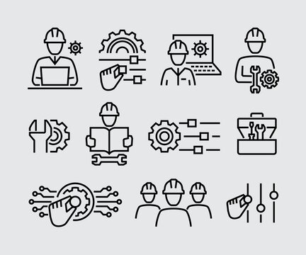 Engineering Vector Line Icons Set