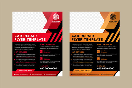 car repair flyer template designs with space for photo collage on top. Combination red and gold on element design, black on background, and white in text. Vertical layout of ad. diagonal shape.