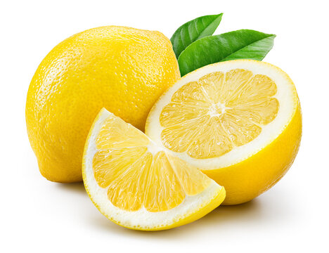 Lemon fruit with leaf isolate. Lemon whole, half, slice, leaves on white. Lemon slices with zest isolated for lemonade. With clipping path. Full depth of field.