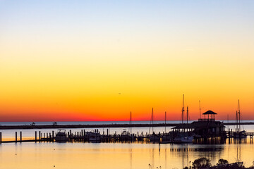 gorgeous colorful sunset on the gulf of mexico in biloxi, mississippi