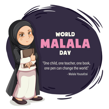 World Malala Day, 12th July, Malala Yousafzai quote, women education, illustration vector