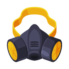 Gas Mask, Respirator with Filters, Pest Control Service Protective Equipment Vector Illustration on White Background