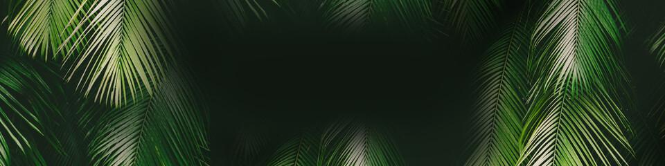 Canvas Prints Floral Tropical palm leaf banner