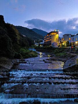 Hakone River Through the Town at Dusk