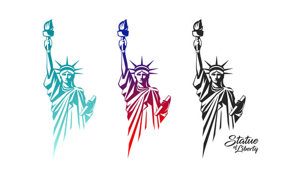 The Statue of Liberty vector, in the United States, colorful collection design isolated on white background, illustration