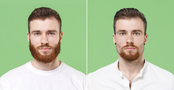 Before after photo shot of stylish young bearded man guy 20s in white t-shirt get trendy beard haircut look camera isolated on green background studio portrait. People lifestyle barber shop concept.