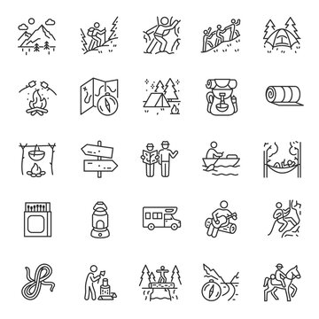 Camping, hiking, icon set. Outdoor leisure and overnight. Attributes for walking, backpacking, linear icons. Line with editable stroke