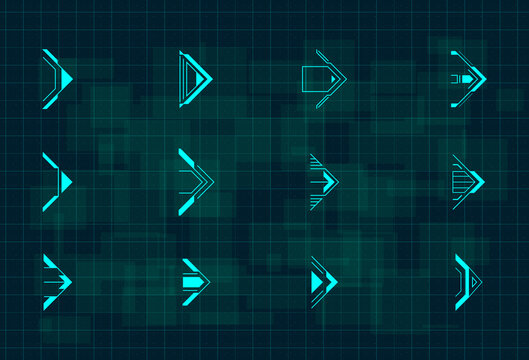 Set of futuristic HUD blue arrows. Cyberpunk arrows design for flyer, banner, cover, card, web and for game UI design. Digital hi-tech style pointers. Vector