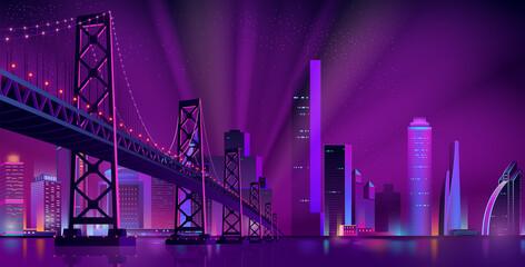 Modern night city landscape vector background