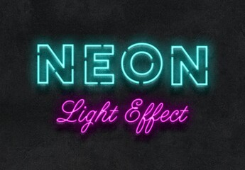 Neon Light Text Effect Mockup
