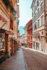 Foto auf Acrylglas Schmale Gasse Empty Alley Amidst Buildings In City