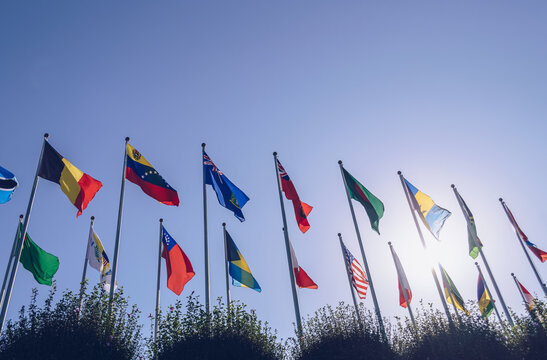 view from below on countries flags