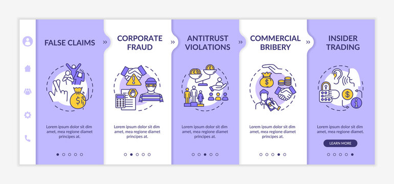 Common corporate crimes onboarding vector template. Insider trading and corporate frauds. Legal entity. Responsive mobile website with icons. Webpage walkthrough step screens. RGB color concept