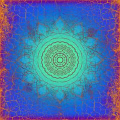 Hintergrund Oberfläche alte Farbe Risse blau Vintage Mandala Sonne indisch Maya alt Patina website Design orange türki Layout Patina rustikal antik edel leuchten schimmern glänzend Leder hell Strahlen