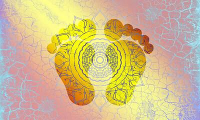 Hintergrund Oberfläche alte Farbe Risse blau Vintage Mandala Sonne indisch Maya alt Patina website Design rot gelb Layout Patina rustikal antik edel leuchten schimmern glänzend Leder hell Füße Symbol