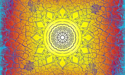 Hintergrund Oberfläche alte Farbe Risse blau Vintage Mandala Sonne indisch Maya alt Patina website Design orange gelb Layout Patina rustikal antik edel leuchten schimmern glänzend Leder hell pastell