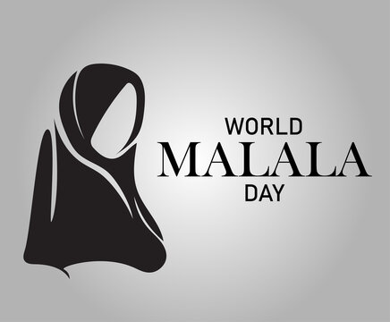 World Malala Day, 12th July, Malala Yousafzai, black and white, poster, illustration vector
