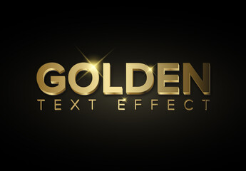 Golden Metallic 3D Text Effect with Glitter