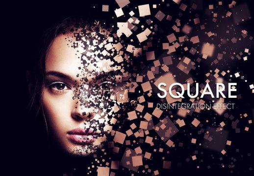 Square Dispersion Photo Effect Mockup