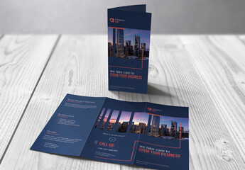 Business Trifold Brochure with Blue  and Red Accents