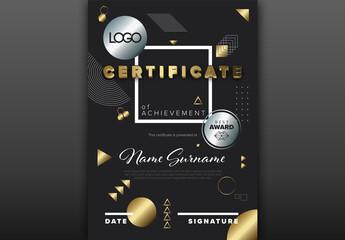 Modern Dark Vertical Certificate Layout Layout