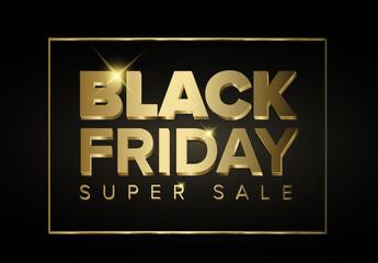 Golden Black Friday Sale Banner Layout