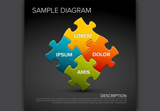 Multipurpose Dark Abstract Puzzle Infographic