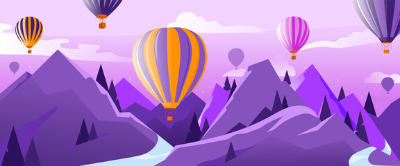 Foto auf Acrylglas Flieder Concept Of Travelling And Adventures. Many Hot Air Balloons In The Air Flying Above Mountains In Summer. Calm And Tranquility. Colorful Ballons and Cloud in The Sky. Cartoon Flat Vector Illustration