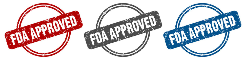 fda approved stamp. fda approved sign. fda approved label set