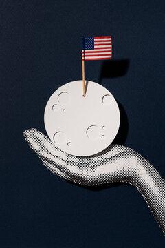 Moon with USA flag