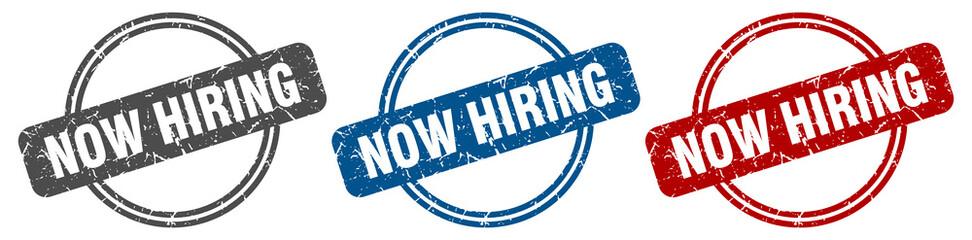 now hiring stamp. now hiring sign. now hiring label set