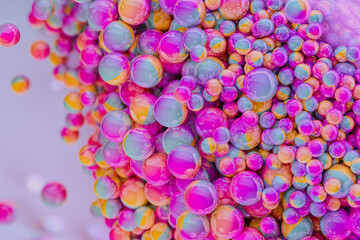 Texture of hundred multicolour spheres from above.
