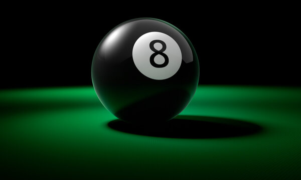 8 Ball on green pool table
