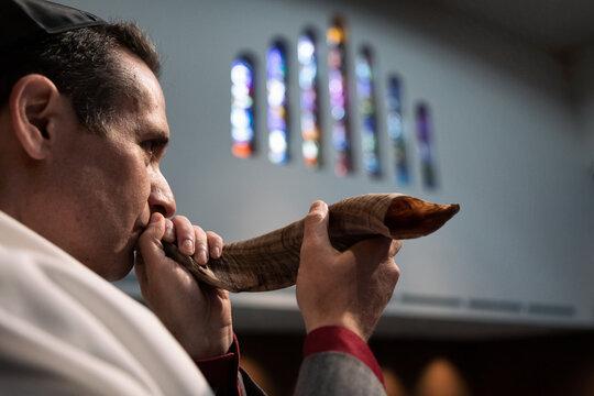 Synagogue: Man Blowing Shofar For High Holidays
