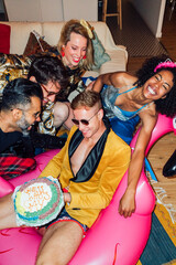 Group Picture During a Coming Out Party . Cake Reveal Gay Concep