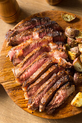 Wall Mural - Grass Fed Ribeye Steak and Potatoes