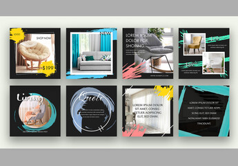 8 Social Media Post Layouts with Abstract Elements