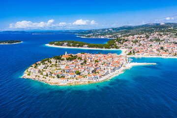 Fototapeta Aerial view of Primosten old town, amazing sunny landscape, Dalmatia, Croatia. Famous tourist resort on Adriatic sea coast.
