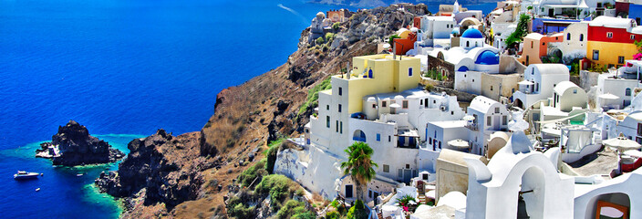 Iconic Santorini - most beautiful island in Europe. view of caldera and Oia village. Greece