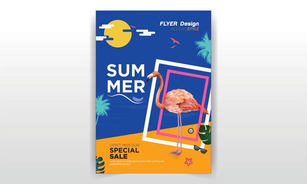 Summer Flyer Layout/ Summer Sale  A colorful neon pink and blue event flyer with a sunset and palm tree background illustration.      Size : 8.5 x 11 inch     CMYK 300 DPI     Bleed : 0.125 inch