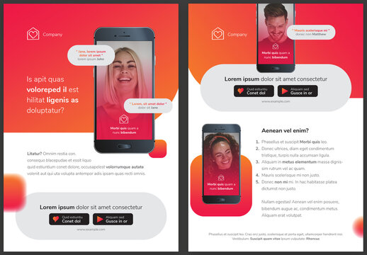 App Design Flyer Layout with Smartphone Screen in Colorful Pink and Orange Gradient Accents