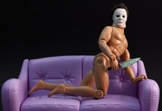 NEW YORK USA - AUG 25 2019: Humorous image of Halloween's slasher Michael Myers in a sexy pose - recreation of a scene from the TV show Seinfeld - timeless art of seduction - customized action figure