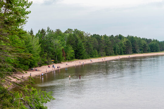 Beautiful Sandy and Rocky Lakeshore of Lake Superior at Big Bay State Park in Madeline Island, Wisconsin
