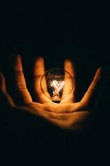 Fototapeta Close-up Of Hand Holding Illuminated Light Bulb Against Black Background obraz